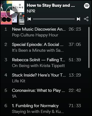 NPR playlist of podcasts on Spotify