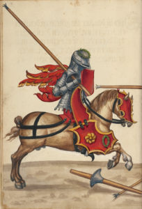 An illustration of an armored knight on horseback.