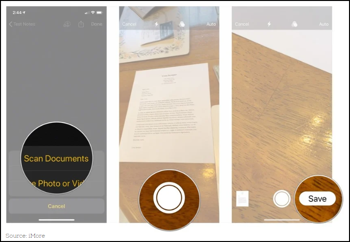 Screen shot of Apple's Notes app used to scan a document